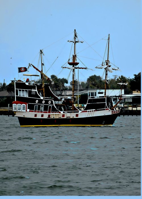 Ship Greeting Card featuring the photograph Pirate Ship Of The Matanzas by DigiArt Diaries by Vicky B Fuller