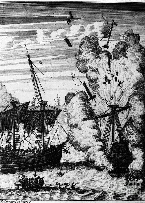 17th Century Greeting Card featuring the photograph Pirate Ships by Granger