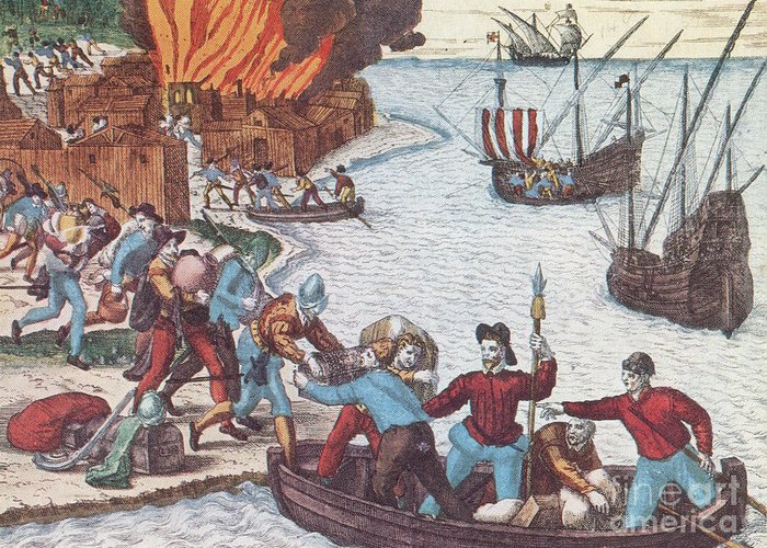 History Greeting Card featuring the Pirates Burn Havana, 1555 by Photo Researchers