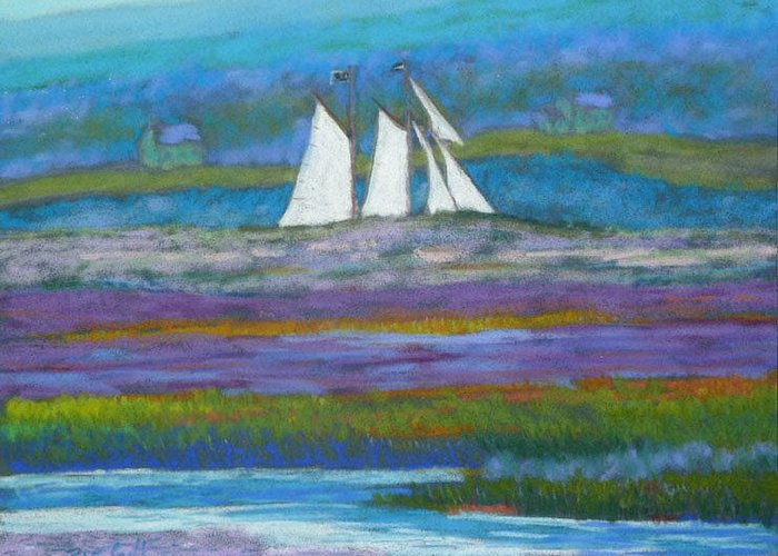 Pirates Greeting Card featuring the pastel Pirates On The Lahave River by Rae Smith PSC