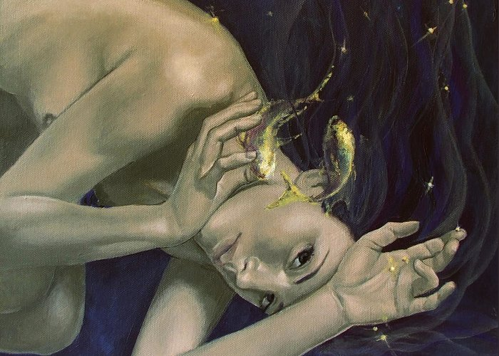 Art Greeting Card featuring the painting Pisces From Zodiac Series by Dorina Costras