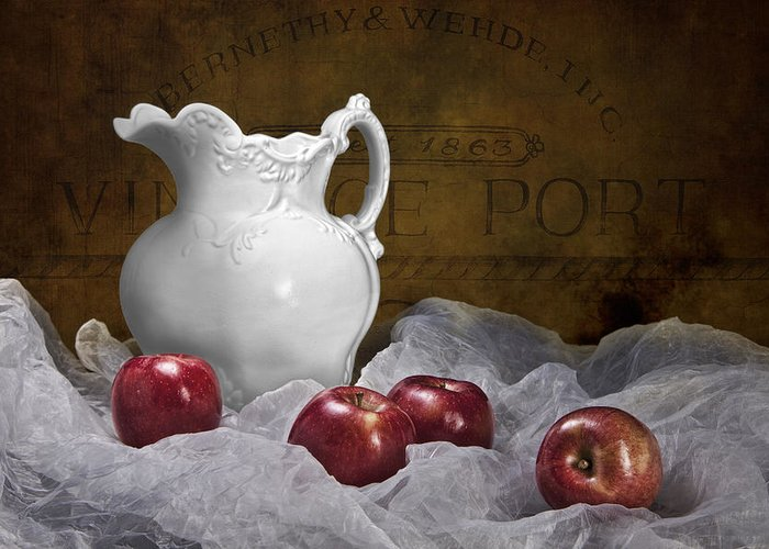 Apple Greeting Card featuring the photograph Pitcher With Apples Still Life by Tom Mc Nemar
