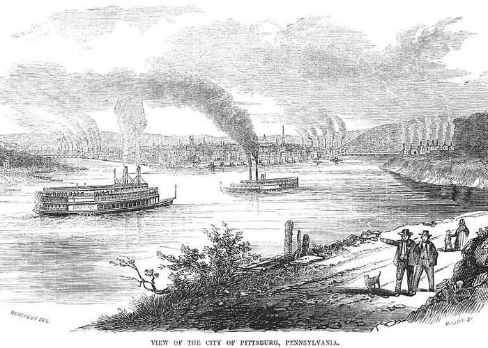 1853 Greeting Card featuring the photograph Pittsburgh, 1853 by Granger