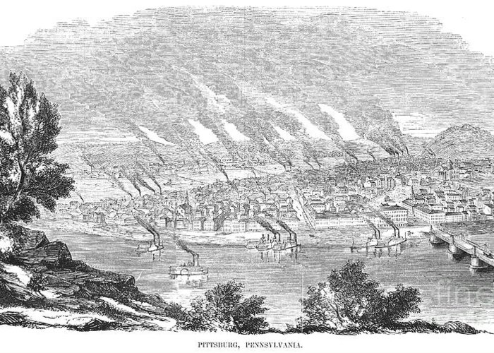1855 Greeting Card featuring the photograph Pittsburgh, 1855 by Granger