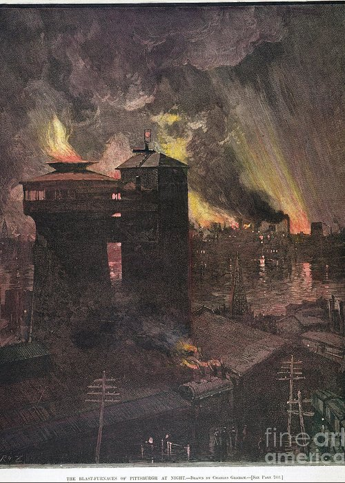 1885 Greeting Card featuring the photograph Pittsburgh: Furnaces, 1885 by Granger