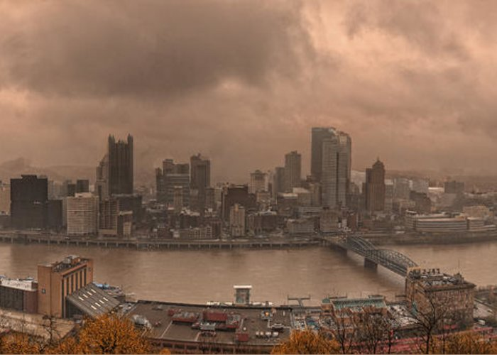 Pittsburgh Greeting Card featuring the photograph Pittsburgh Skyline 1 by Wade Aiken