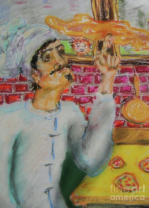 Pizza Greeting Card featuring the pastel Pizza Chef by Emily Michaud