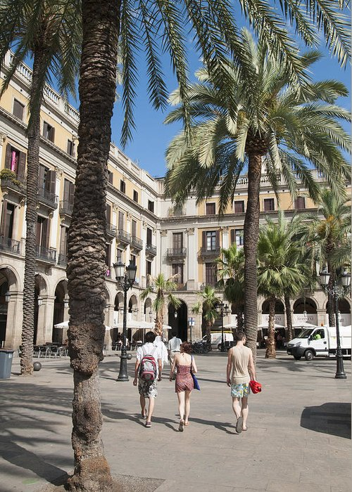 Barcelona Greeting Card featuring the photograph Placa Reial Barcelona Spain by Matthias Hauser