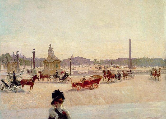 Place Greeting Card featuring the painting Place De La Concorde - Paris by Georges Fraipont