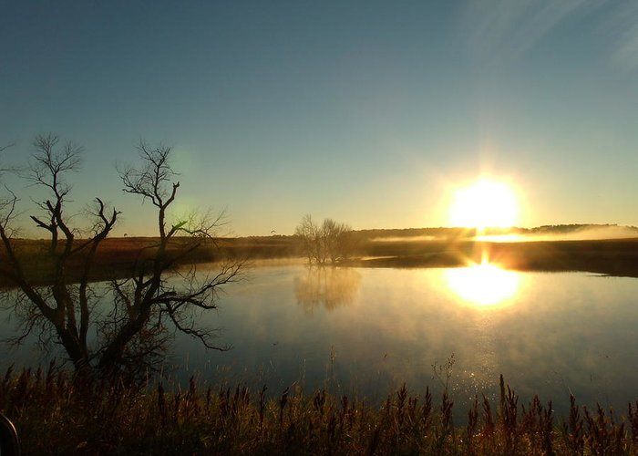 Placid Glass Lake Greeting Card featuring the photograph Placid Glass Lake At Dawn by Brian Maloney