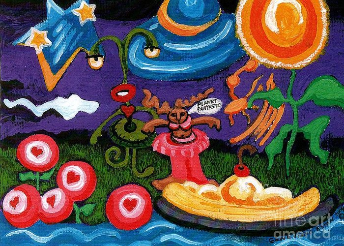 Planet Fantastic Greeting Card featuring the painting Planet Fantastic by Genevieve Esson