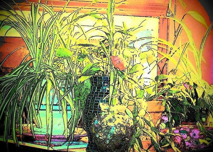 House Plants Greeting Card featuring the mixed media Plants by YoMamaBird Rhonda