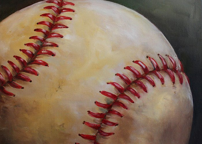 Kristine Kainer Greeting Card featuring the painting Play Ball No. 2 by Kristine Kainer
