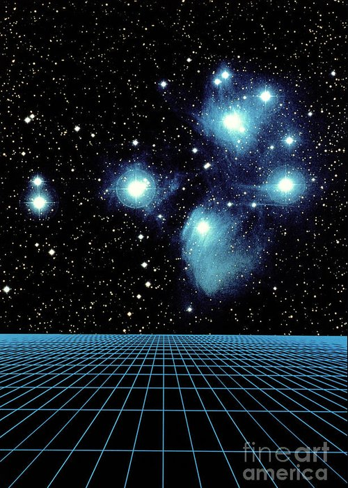 Astronomy Greeting Card featuring the photograph Pleiades In Taurus by Science Source