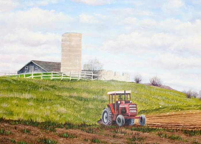 Farmland Greeting Card featuring the painting Plowing In by Don Goetze