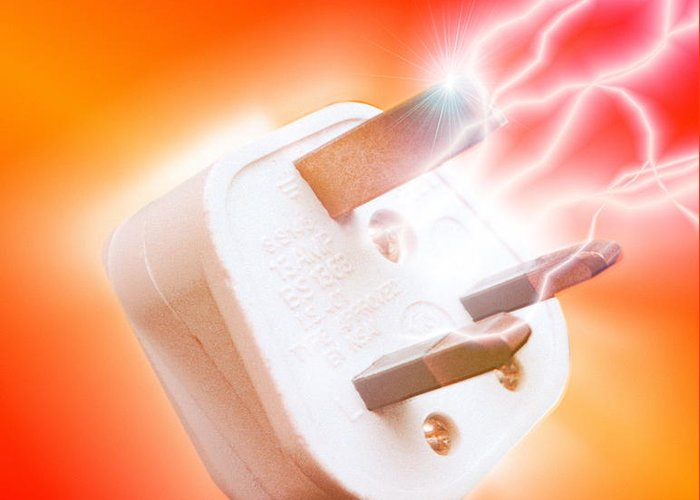 Plug Greeting Card featuring the photograph Plug With Electric Current by Victor Habbick Visions