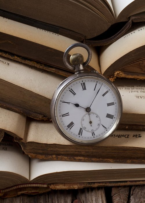 Pocket Watch Greeting Card featuring the photograph Pocket Watch On Pile Of Books by Garry Gay
