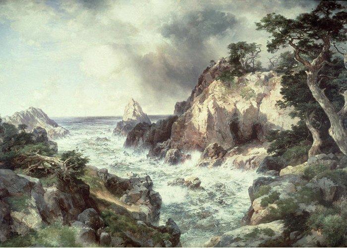 Thomas Moran Greeting Card featuring the painting Point Lobos At Monterey In California by Thomas Moran
