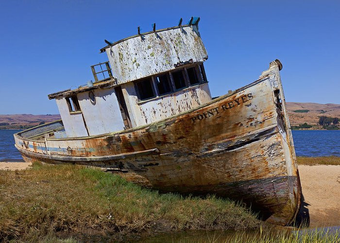 Old Greeting Card featuring the photograph Point Reyes Beached Boat by Garry Gay