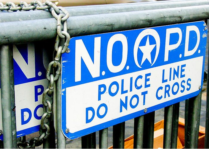 New Orleans Greeting Card featuring the photograph Police Line Do Not Cross by Linda Kish