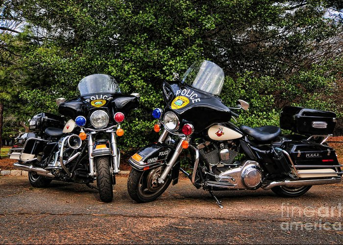 Police Bike Greeting Card featuring the photograph Police Motorcycles by Paul Ward