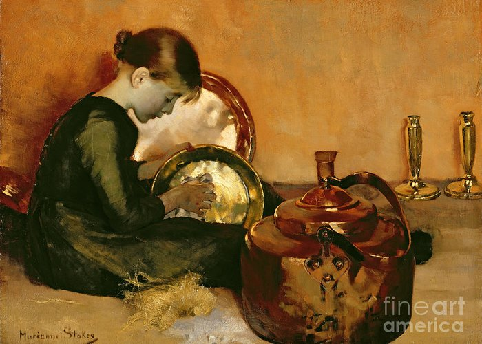 Polishing Pans (oil On Canvas) By Marianne Stokes (1855-1927) Female; Young Girl; Seated; Working; Brass; Servant; Pan; Domestic Chores; Polish; Pot; Girl Greeting Card featuring the painting Polishing Pans by Marianne Stokes