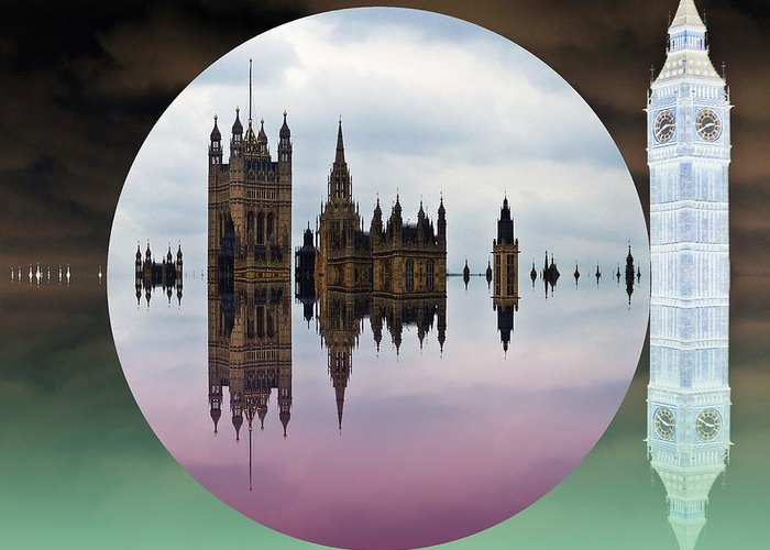 London Greeting Card featuring the digital art Political Bubble by Sharon Lisa Clarke