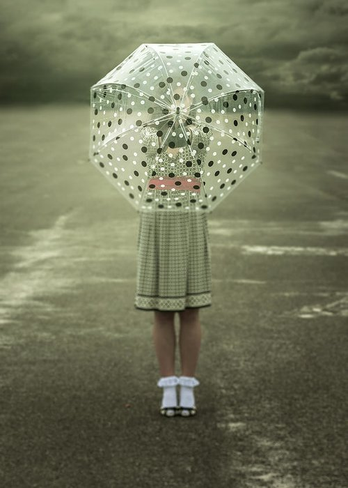 Woman Greeting Card featuring the photograph Polka Dotted Umbrella by Joana Kruse