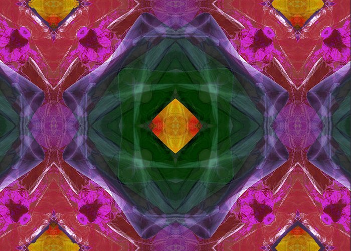 Polychromatic Arabesque Geometric Colorful Abstract Sandstone Blue Green Red Magenta Yellow Violet Antelope Canyon Rotation Translation Transformation Transformations Planar Plane Tessellate Tessellation Tessellations Greeting Card featuring the photograph Polychromatic Arabesque by Gregory Scott