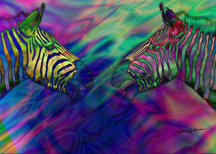 Imagination Greeting Card featuring the digital art Polychromatic Zebras by Anthony Caruso