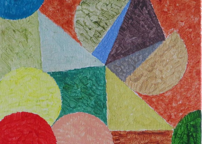 Fusion Of Colours In Shapes Greeting Card featuring the painting Polychrome by Sonali Gangane