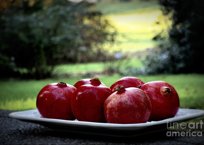 Nature Greeting Card featuring the photograph Pomegranates On White Platter 3 by Tanya Searcy