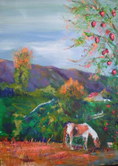 October...pomogranates Need Picked...tater's Grazing...fall Sun Is Setting On Palamar Mountain Greeting Card featuring the painting Pomogranates N Tater by Bryan Alexander