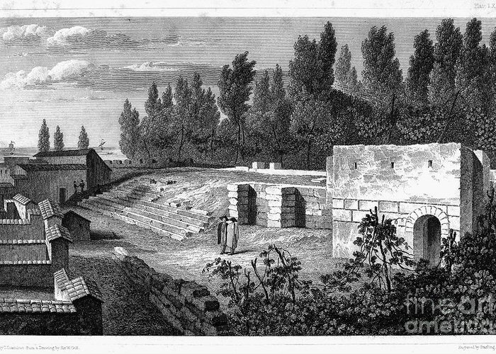 1830 Greeting Card featuring the photograph Pompeii: Stairs, C1830 by Granger