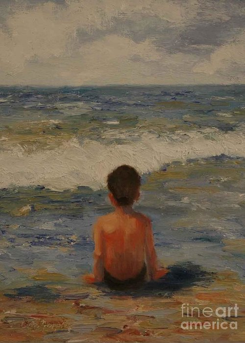 Seascape Greeting Card featuring the painting Pondering the Universe by Colleen Murphy