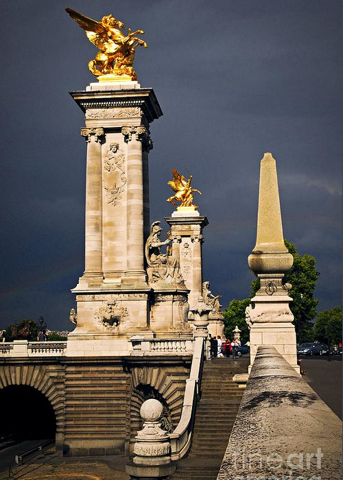 Bridge Greeting Card featuring the photograph Pont Alexander IIi In Paris Before Storm by Elena Elisseeva