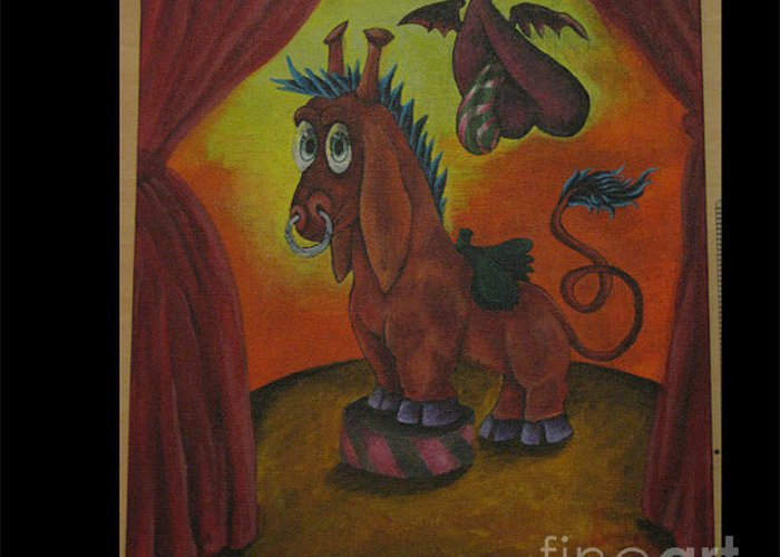 Horse Greeting Card featuring the painting Pony by Julio Rodriguez