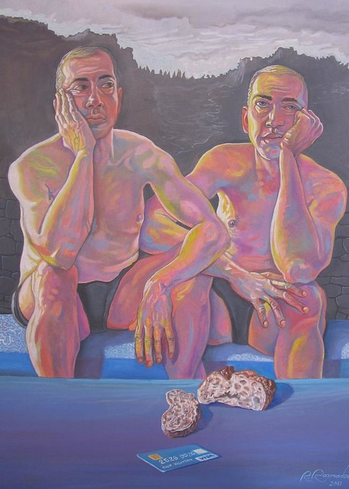 Twins Greeting Card featuring the painting Poor and Rich by Ramaz Razmadze