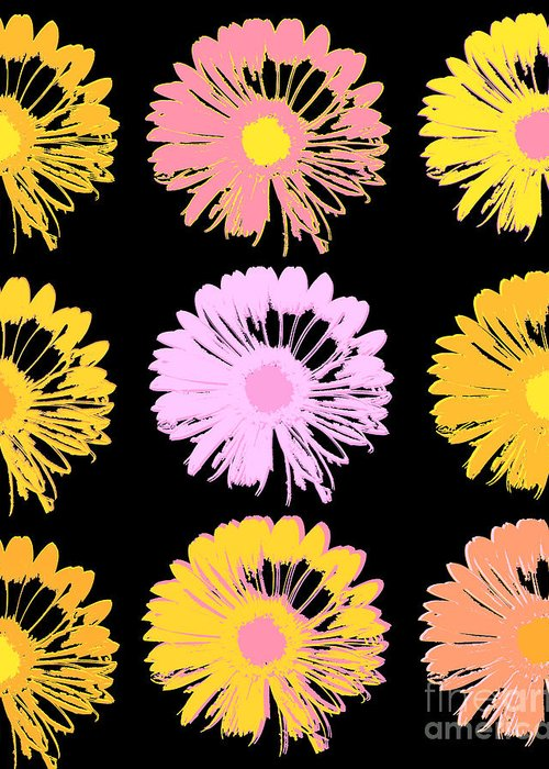 Pop Art Floral Greeting Card featuring the mixed media Pop Art Floral I -daisies -ii by Ricki Mountain