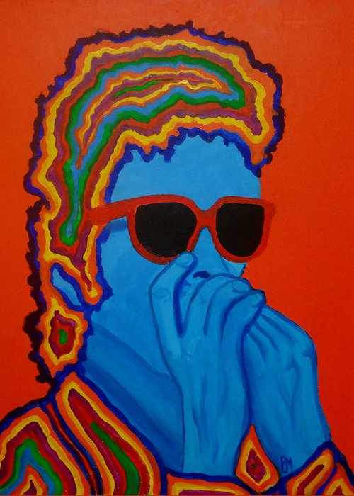 Bob Dylan Greeting Card featuring the painting Pop Dylan by Pete Maier