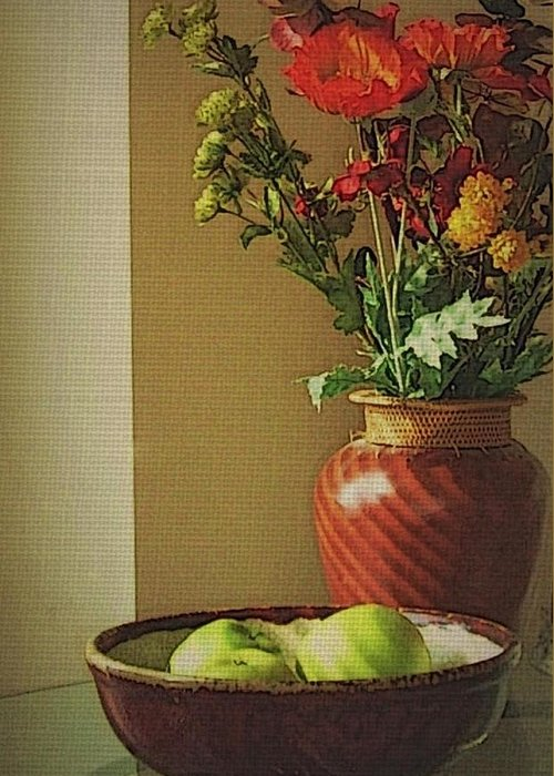 Still Life Greeting Card featuring the photograph Poppies and apples still life by Joseph Ferguson