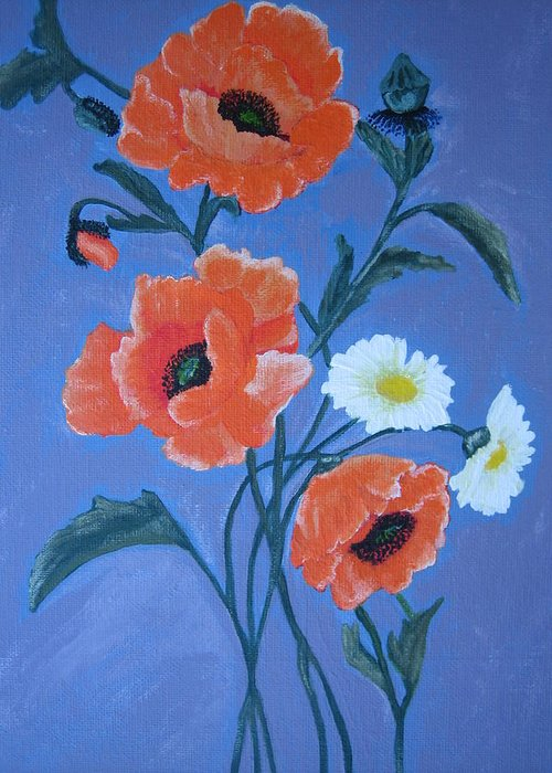 Flowers Greeting Card featuring the painting Poppies And Daisies by Berta Barocio-Sullivan