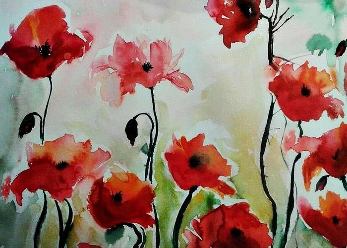 Poppies Greeting Card featuring the painting Poppies Meadow - Abstract by Ismeta Gruenwald