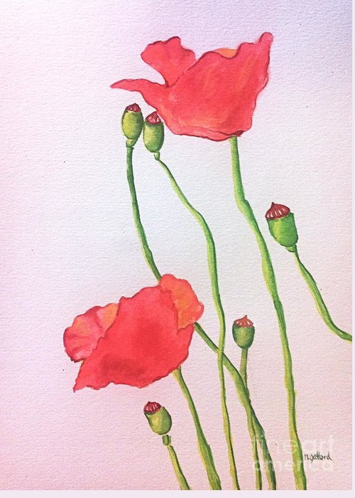 Watercolor Greeting Card featuring the painting Poppies by Norma Gafford