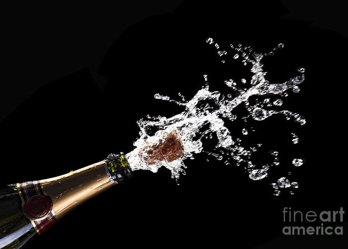 Champagne Greeting Card featuring the photograph Popping Champagne Cork by Gualtiero Boffi