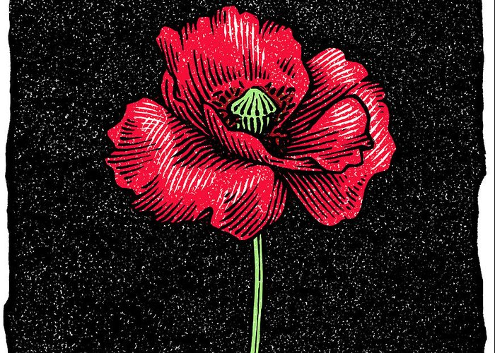 Papaver Greeting Card featuring the photograph Poppy Flower, Woodcut by Gary Hincks