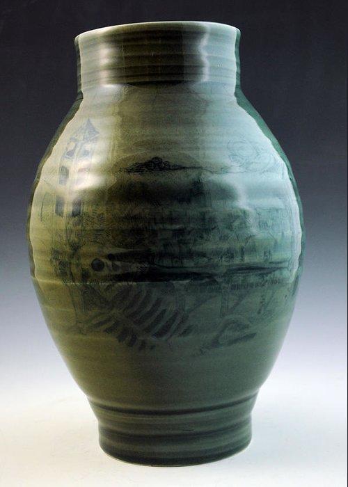 Porcelain Greeting Card featuring the ceramic art Porcelain Base by Alejandro Sanchez