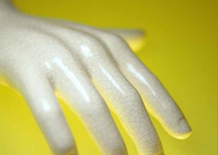 Hand Greeting Card featuring the photograph Porcelain Hand by Lawrence Lawry