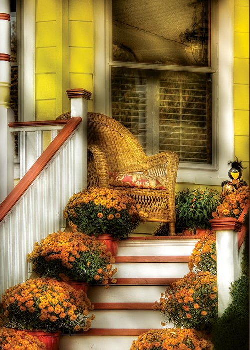 Savad Greeting Card featuring the photograph Porch - Westifeld Nj - In The Light Of Autumn by Mike Savad