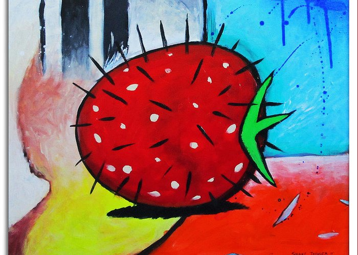 Abstract Greeting Card featuring the painting Porcupine Strawberry by Snake Jagger